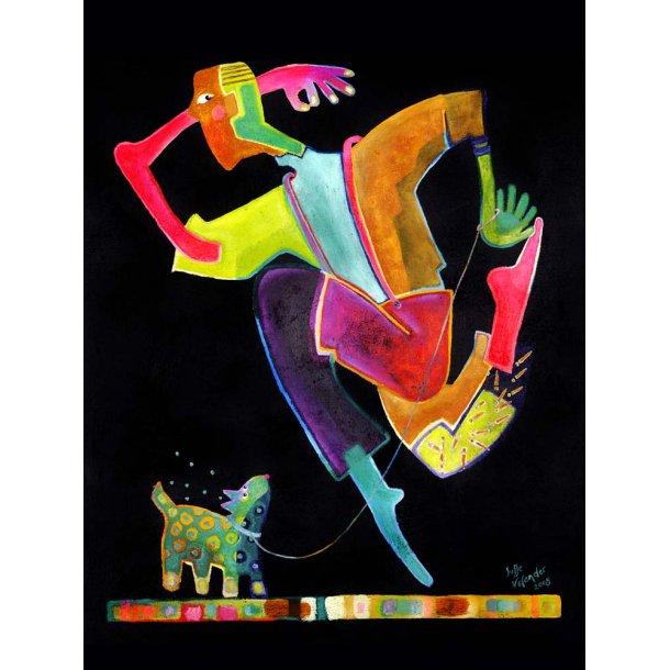 Hoppende mand med hund